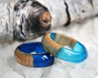 anillo azul sirena océano resina mujeres anillo anillo por VyTvir