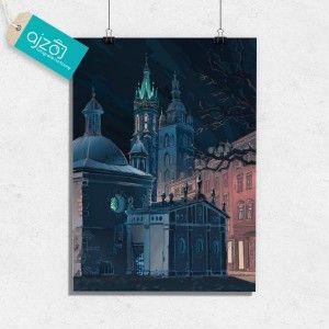 Plakat Krakowski rynek nocą 50x70cm