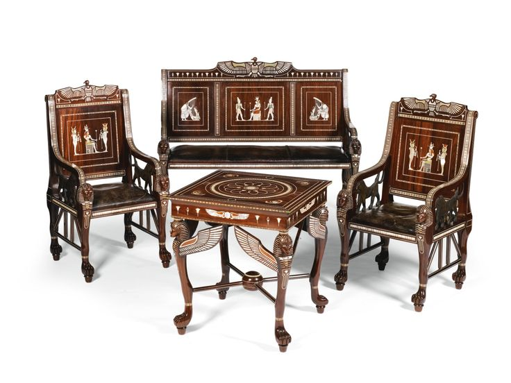 An Egyptian Revival Ivory, Mother Of Pearl, Green Stained Fruitwood And  Abalone Shell Inlaid. Furniture StylesArt ...
