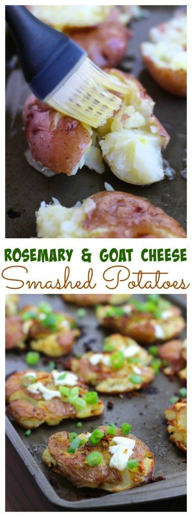Crispy smashed potatoes aka crash hot potatoes are crispy on the outside and buttery soft on the inside. These potatoes are a delicious side dish with chicken, steak, or pork!  Smashed potatoes are one of our favorite game day party appetizers! Rosemary and goat cheese are the perfect flavors to accent these smashed potatoes!