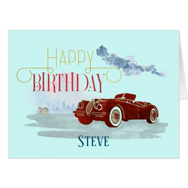 Man's Classic Car Ornate Text Happy Birthday Blue Card | Zazzle.com