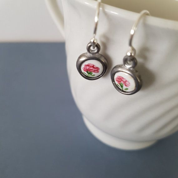 Vintage Enamel Charms earrings tiny little by anordicrose on Etsy