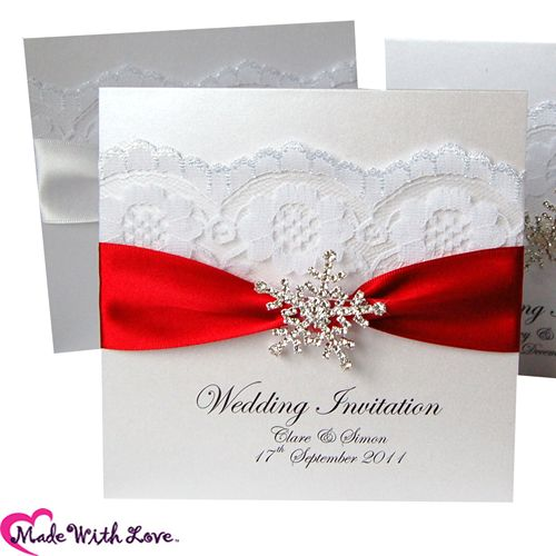 Snowflake handmade Lace Wedding Invitations, snowflake Greetings Invitations and Luxury Snowflake Lace Wedding stationery from Made With Love Designs UK. Personalise your snowflake Wedding invitations. We now ship our snowflake wedding stationery worldwide