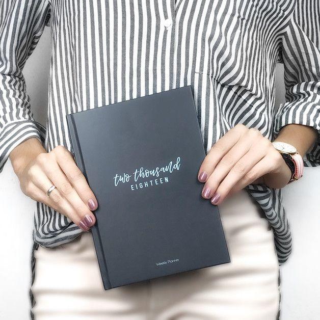 DIN A5 - Taschenkalender 2018 +Dez'17 Grey & Blue - ein Designerstück von BuchstabenKult bei DaWanda