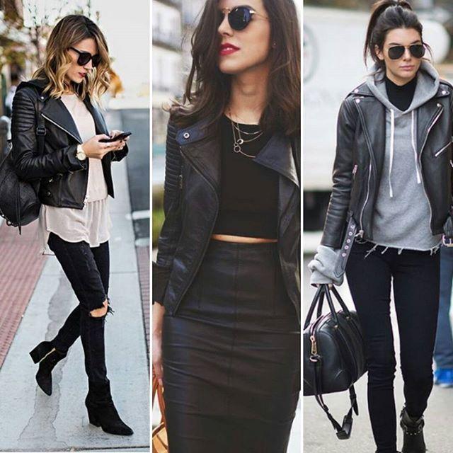 Unanimidade entre as mulheres, a jaqueta de couro, herdada pelo movimento rockabilly, deixa o seu look mais estiloso e moderno. O modelo perfecto, na altura da cintura, mais curto e justo,  traz um ziper deslocado e gola sopreposta, estilo aviador, diferentemente da tradicional jaqueta de couro. Inspire-se!    #modaazoficial #dica #moda #couro #cool #jaquetadecouro #style #jacket #winter #fashion