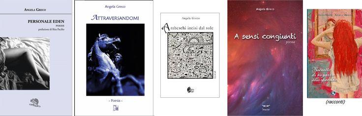 tutti i libri (fin'ora) di Angela Greco, dai più recenti (i primi da sinistra) al più anziano ^_^