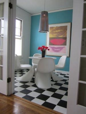 Aqua Walls With Black And White Checkered Floor Super Cool My New House Pinterest Flooring Home Apartment Therapy
