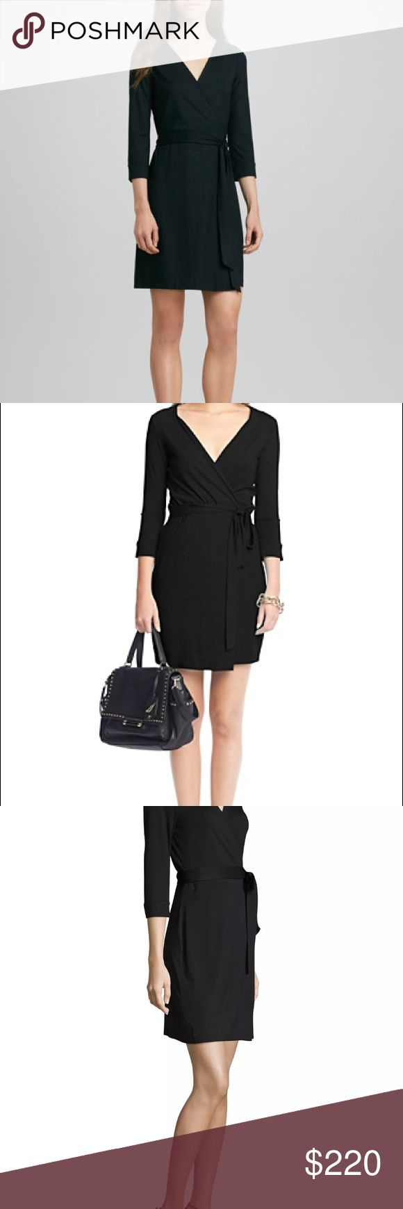 """Diane Von furstenberg Julian wrap dress two mini Up for sale one Diane von Furstenberg NEW JULIAN TWO Mini Matte Jersey Wrap Dress with retail TAGS ATTACHED - brand new and in perfect condition, size US14, UK18. Style # D779101E00. Color: BLACK. An effortless DVF wrap dress is cropped for a modern take on a signature silhouette. The crossover bodice forms a flattering V neckline, and a self-tie defines the waist. 3/4 sleeves. Unlined.  About 35"""" long True wrap style. V-neck. Three-quarter…"""