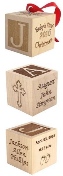 Personalized wooden baby blocks for Birth, Baptism, or Baby's First Christmas--a great keepsake to commemorate that special occasion!  Explore all of our baby gifts at palmettowoodshop.com
