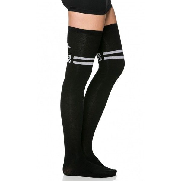BAD ASS Striped Thigh High Socks in Black ($11) ❤ liked on Polyvore featuring intimates, hosiery, socks, knee hi socks, stripe socks, thigh high socks, striped knee high socks and stripe thigh high socks