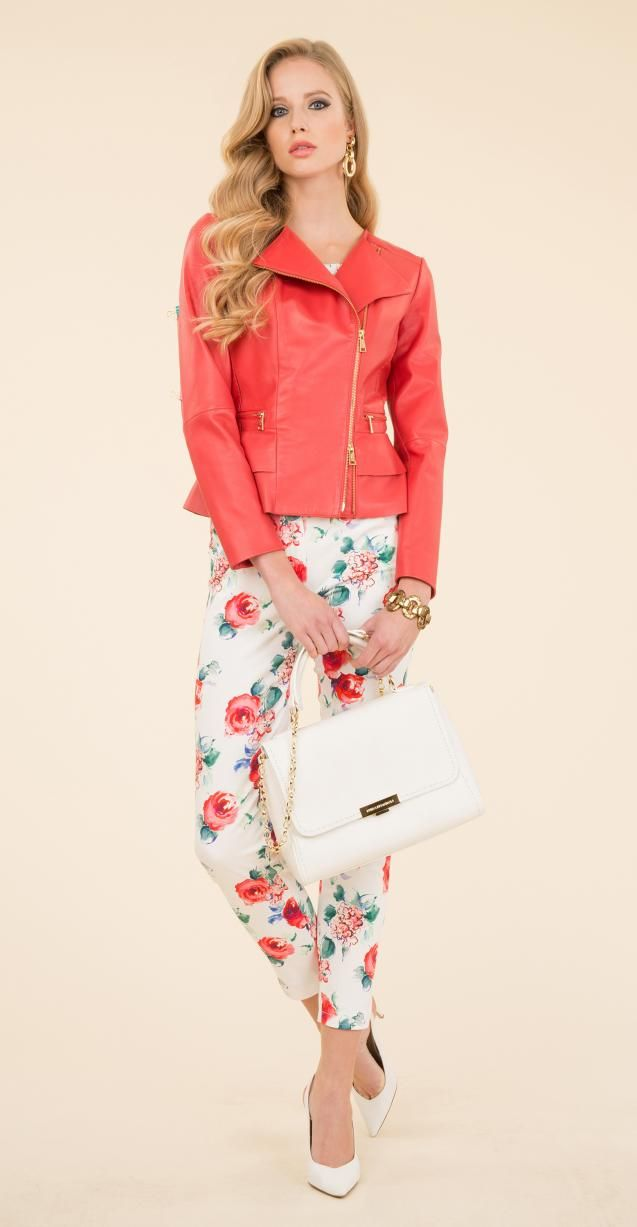 Leather biker, floral printed trousers, Illis bag and Nardo bracelet.