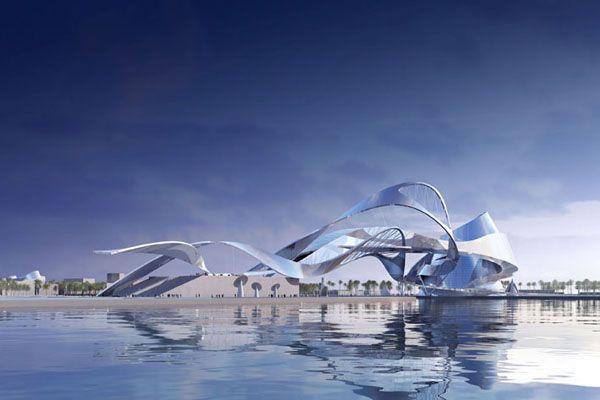 """Dubai Gateway by Coop Himmelb(l)au  """"Two Iconic Structures Across Dubai Creek"""", Dubai, UAE (2008)"""