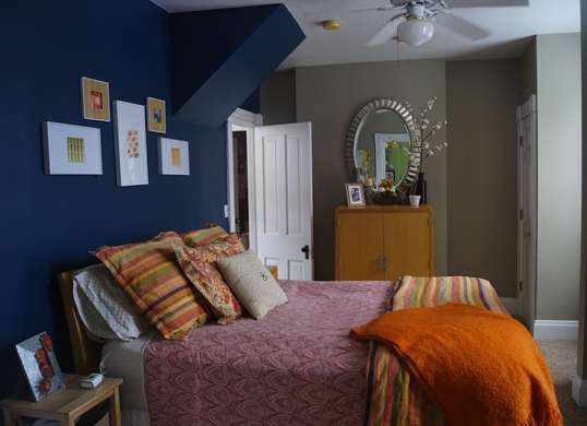 Two tone painted bedroom walls