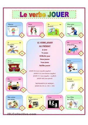 Le verbe JOUER + Sports et Loisirs fiche d'exercices - Fiches pédagogiques gratuites FLE