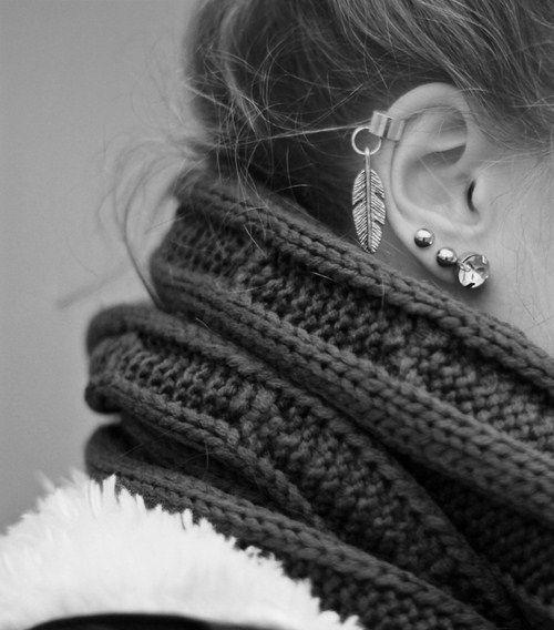 earrings: Fashion, Style, Ear Cuffs, Piercings, Scarf, Earcuff, Earrings