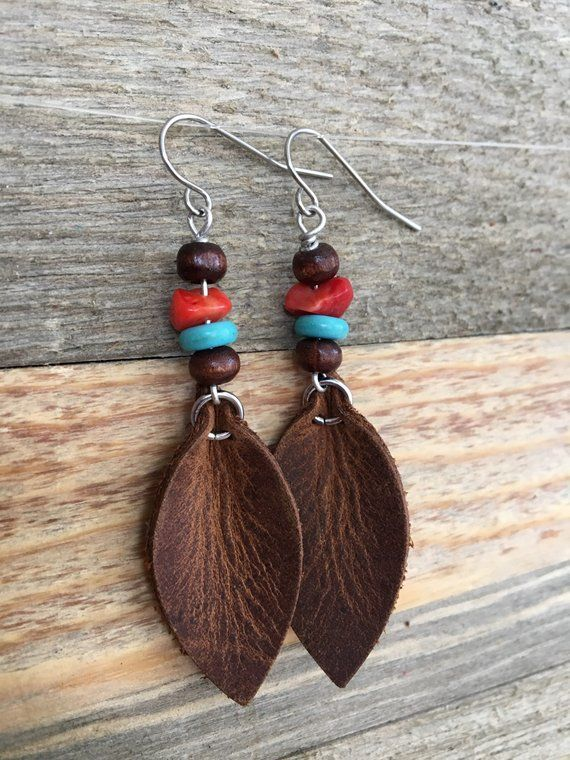 Leather Earrings  – Southwestern Style Earthy Bohemian Dangle Leaf Earrings in Rustic Brown Leather