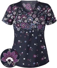 Advantage STRETCH by Butter-Soft™ Artisan Flower Navy Print Scrub Top