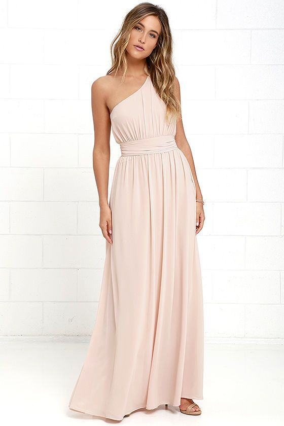It will be hard not to admire yourself in every passing reflection while you don the Looking Glass Blush One-Shoulder Maxi Dress! Woven fabric drapes to a billowy, banded waist from a ruched, one-shoulder bodice, while a full, blushing beige maxi skirt descends below. Hidden side zipper with clasp.