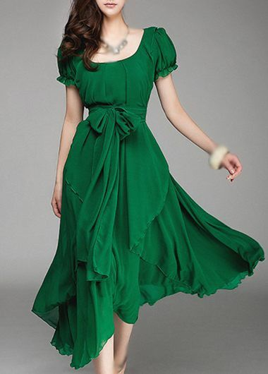 Emerald Green Chiffon Ruffle Layered Midi Dress