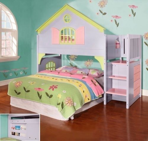 Details about Girls Twin Doll House Loft Bed with Stairs, Drawers & Magazine Rack