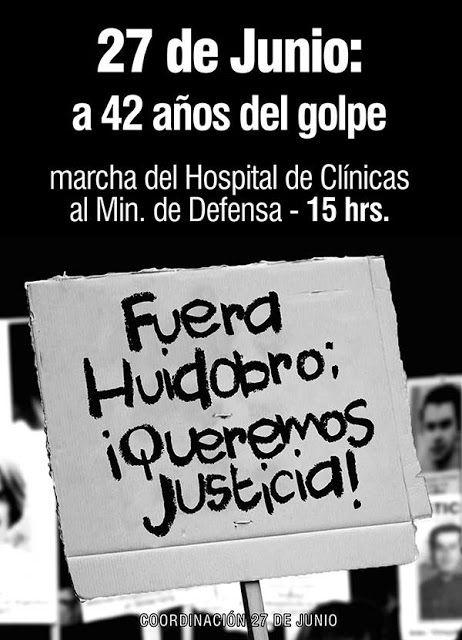 Plenaria Memoria Y Justicia: Afiche: Fuera Huidobro, ¡Queremos Justicia!