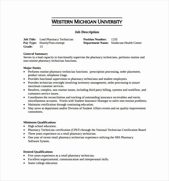 Pharmacy Technician Job Description Resume Lovely 9 Pharmacy Technician Job Descrip In 2020 Job Description Template Teaching Assistant Job Description Job Description