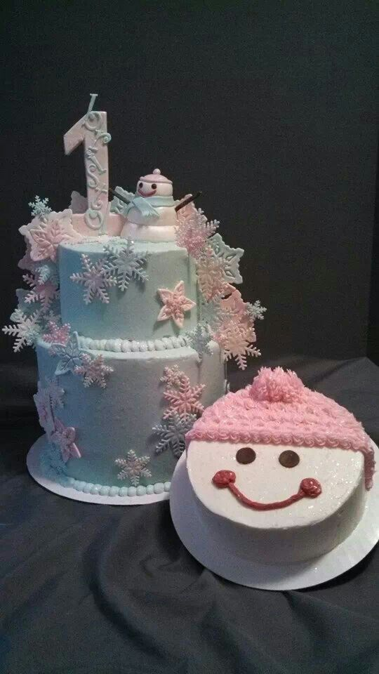Winter ONEderland cake and snow girl smash cake. Created by Alicia @ Phat N Sassy Sweets