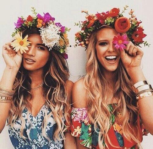 красота, цветы, гирлянда, вещи для девушек, счастливые, длинные волосы, лето, юноши