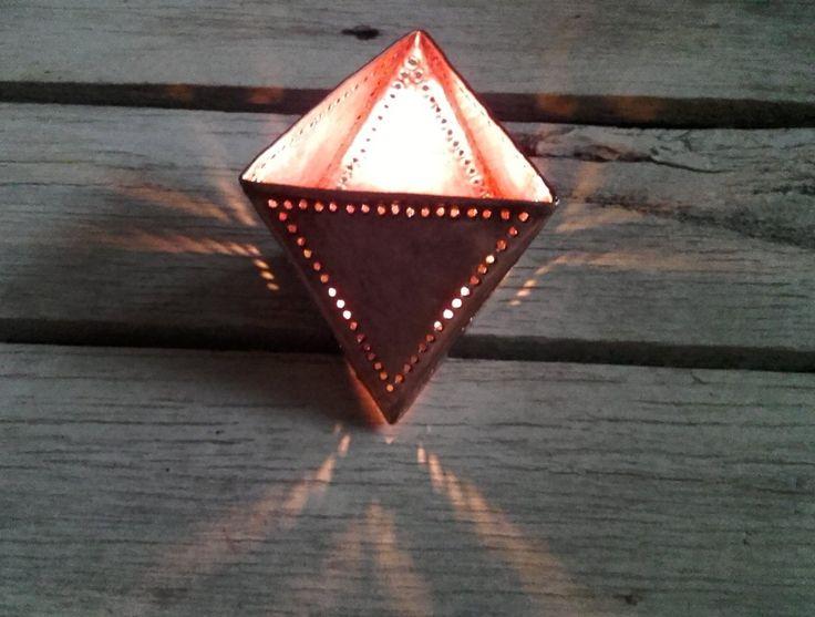 Fair Trade Copper T Light Pyramid Design