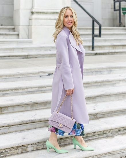 111d8a169 Lavender Coat The Spring coat! Lavender is the perfect Spring color.  Especially paired with mint pumps! #ShopStyle #MyShopStyle  #ContributingEditor ...