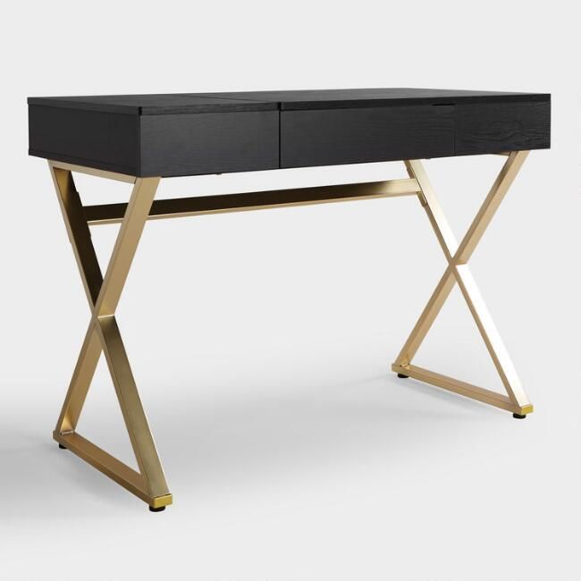 Black Wood and Metal Mara Vanity Desk - v1