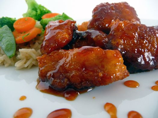 Sweet & Sour Chicken  For the Chicken:  3-4 boneless,skinless chicken breasts, cut into chunks  Salt and pepper, to taste  1 cup cornstarch  2 eggs, slightly beaten  ¼ cup canola or vegetable oil    For the Sauce:  ¾ cup sugar  4 tablespoons ketchup  ½ cup vinegar (preferably rice or white)  1 tablespoon soy sauce  1 teaspoon garlic powder