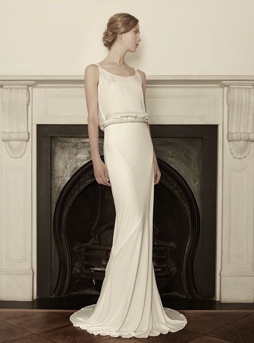"Brides.com: Sophia Kokosalaki - Spring 2013. ""Bolina"" sleeveless silk taffeta sheath wedding dress with a scoop neckline and thin straps, Sophia Kokosalaki See more Sophia Kokosalaki wedding dresses in our gallery."