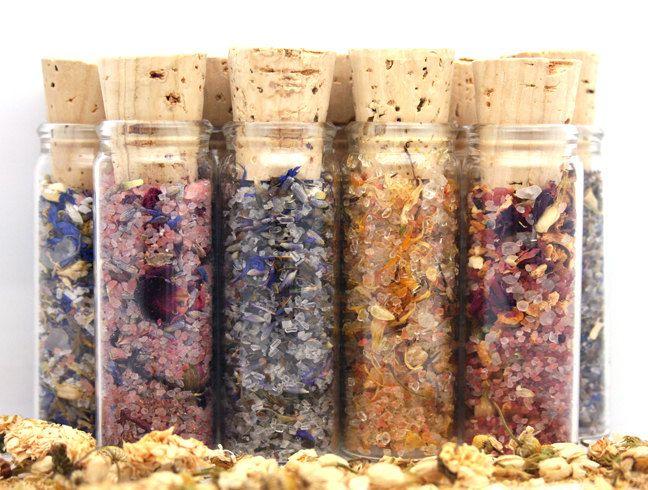 Aromatherapy Herbal Luxury Bath Salts & Foot Soak: Sample Set of Nine Healing Salt Blends. $34.00, via Etsy.
