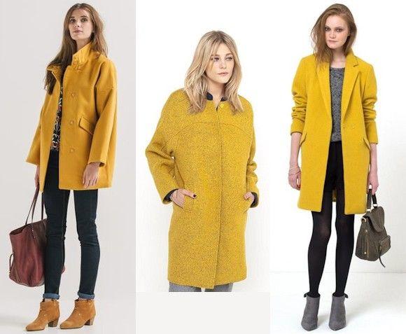 #Tendance #Mode : 3 manteaux jaunes à porter cet hiver >> http://www.taaora.fr/blog/post/manteau-jaune-safran-ocre-moutarde-tendance-automne-hiver-2015-2016