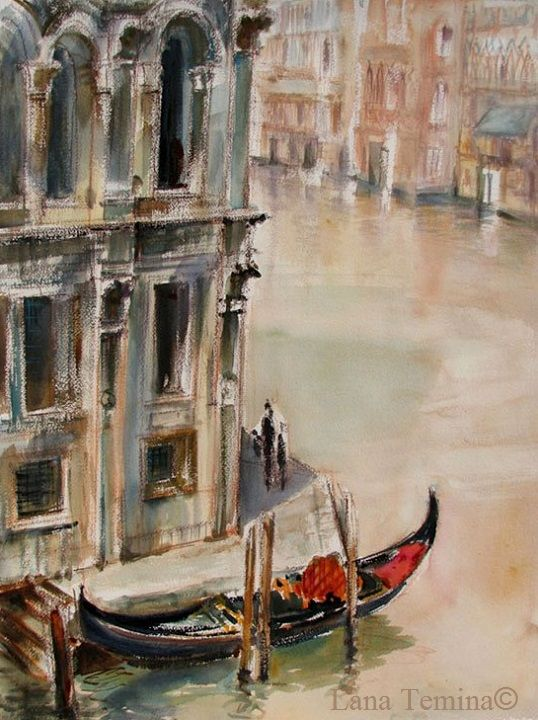 A view from Rialto bridge. Watercolor by Lana Temina  #venice #watercolor #painting #art