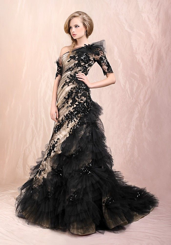 Drop Waist One Shoulder Brush Train Black Wedding Dress https://itunes.apple.com/us/album/love-is-forever-feat.-bobby/id716745413