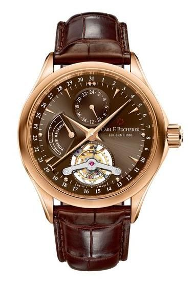 00.10918.03.93.01 Carl F.Bucherer Manero Tourbillon Limited Edition - швейцарские мужские наручные часы - золотые, коричневые - турбийон