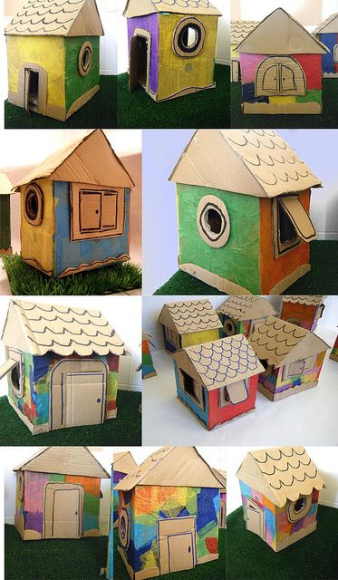 My kids love cardboard boxes...LOVE...and when they can be house too, its one fun day!