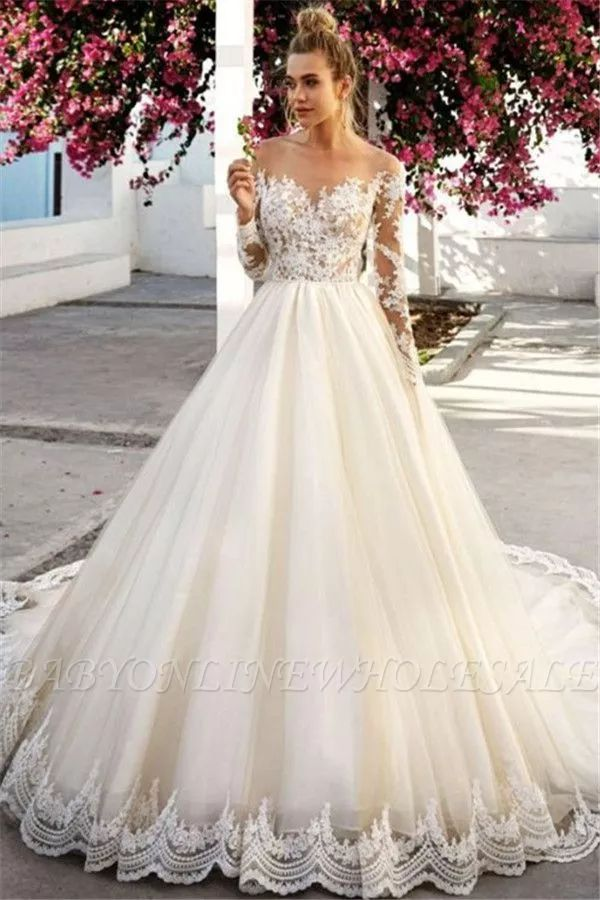 Unique Off-the-Shoulder A-Line Long Sleeves Appliques Wedding Dress BC0756