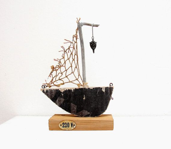 The Night Watch  Driftwood Boat by GiftsandStars on Etsy, $107.00