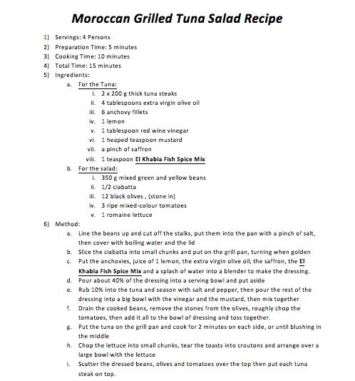 Moroccan Grilled Tuna Salad Recipe