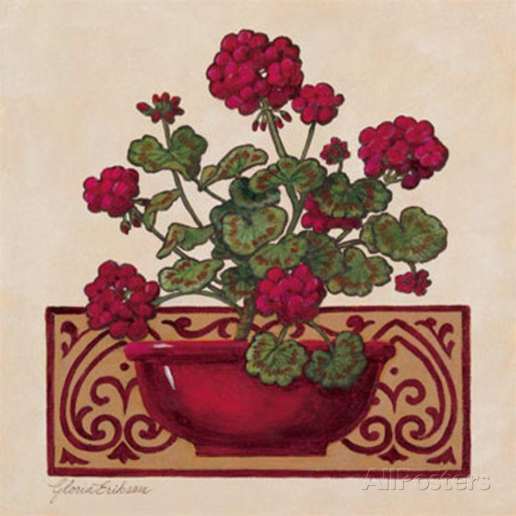 Red Geraniums I Print by Gloria Eriksen
