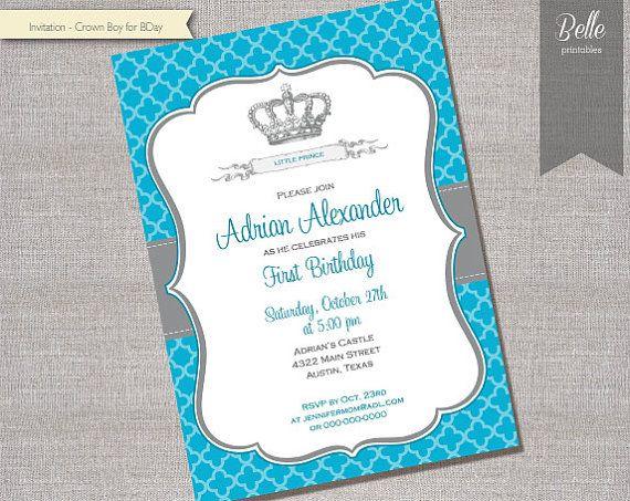 Birthday Invitation  Prince Crown for Boy DIY by BellePrintables, $12.50