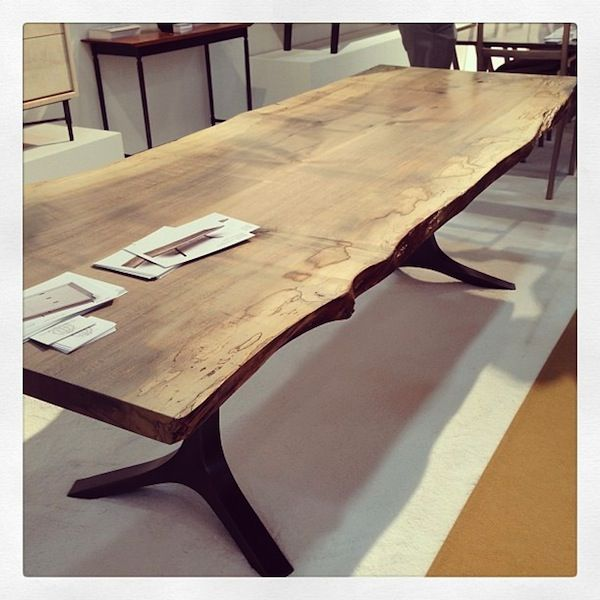 I like the base on this one   Stunning maple slab table by Tod Von Mertens.