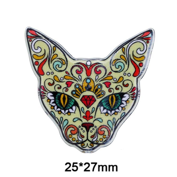 NO PIN Acrylic Brooch Findings Cute Flower Printing Pattern Cat Girls DIY Bag Scarf Clothe Fridge Sticker Decoration Kid Jewelry