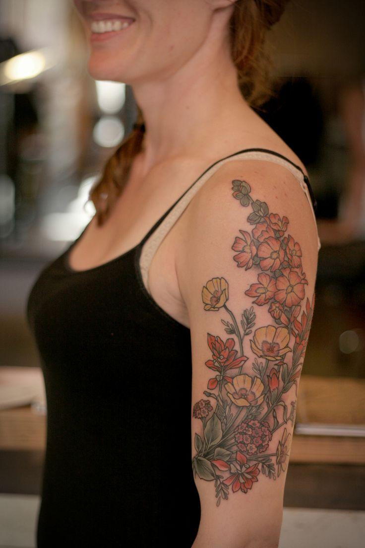 Kirsten makes tattoos desert wildflowers for hannah for Arizona desert tattoo