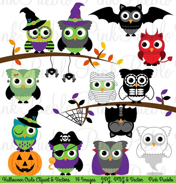 Halloween Owl Clipart Clip Art, Cute Happy Halloween Owl Bird Clipart Clip Art…
