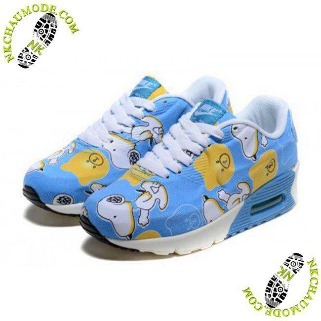chaussures nike air max thea 90 Enfant Snoopy Bleu Blanc