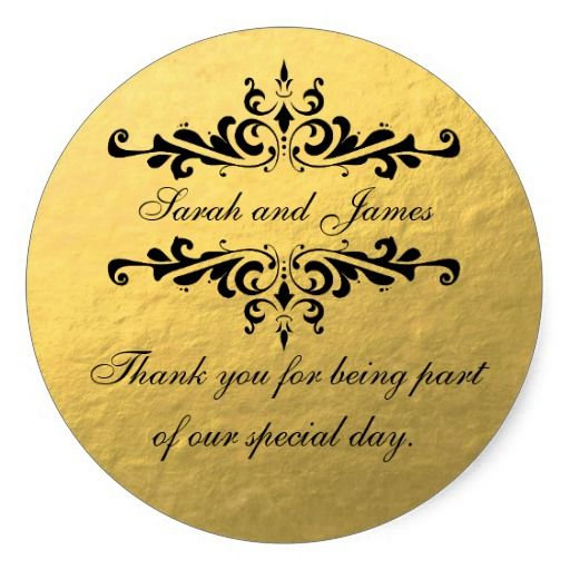 Gold Foil Look Wedding Favor Thank You Label Clic Round Sticker